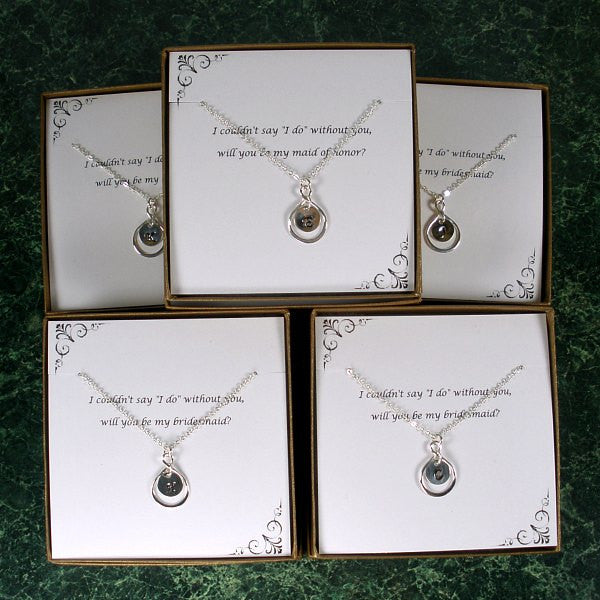 bridesmaid initial necklace personalized gift set maid of honor silver
