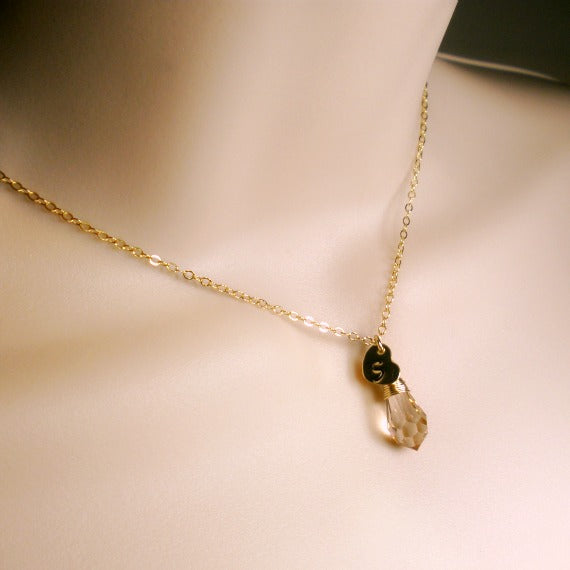 gold initial necklace with Crystal