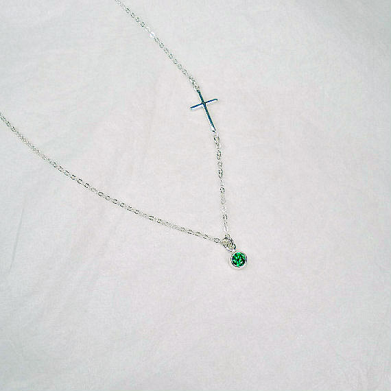 sideways cross necklace gemstone sterling silver