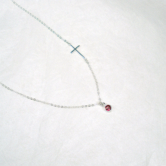 Sideways Cross Necklace with Rose Quartz, Sterling Silver