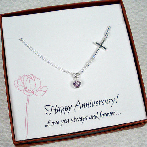 Meaningful Wedding Anniversary Gift for Wife, Gemstone Necklace by year stone, sterling silver, amethyst, garnet, peridot, blue topaz, cz, black onyx, blue chalcedony, rose quartz