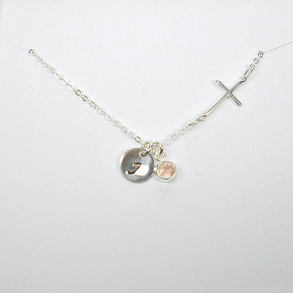 sideways cross necklace with initial gemstone birthstone