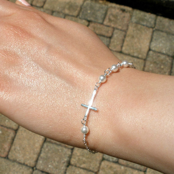 pearl sideways cross bracelet sterling silver