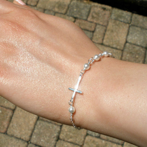 Sideways Cross Bracelet Pearl Side Cross Womens Bracelet SIlver