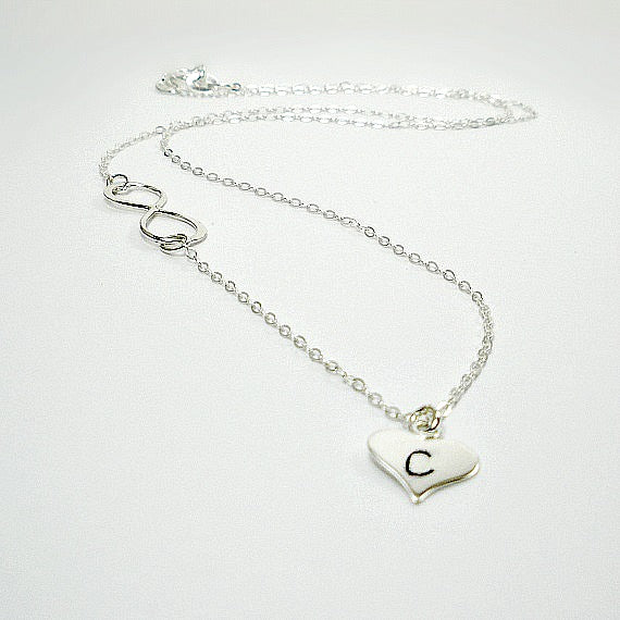 Wedding Party Gift: Infinity Initial Necklace, Sterling Silver