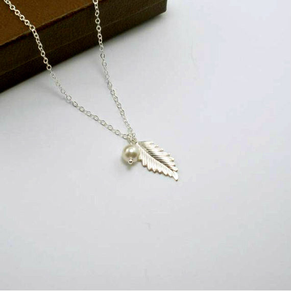 Dainty leaf necklace fall jewelry sterling silver