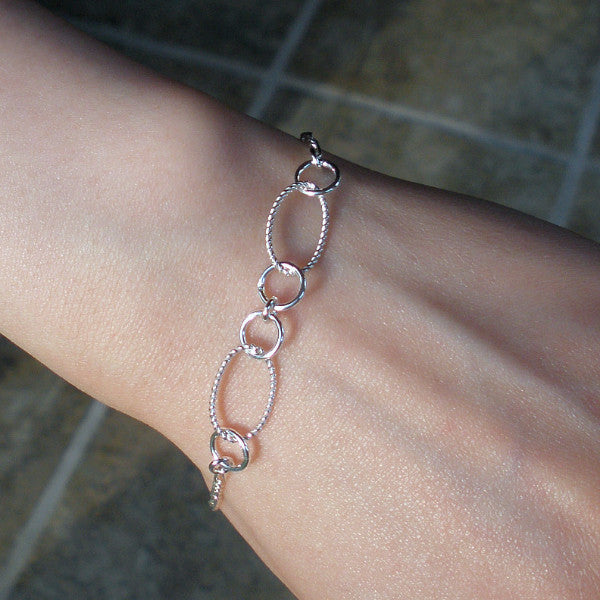Bracelets for Women, Chain Link, Simple, Minimal Jewelry, Sterling Silver