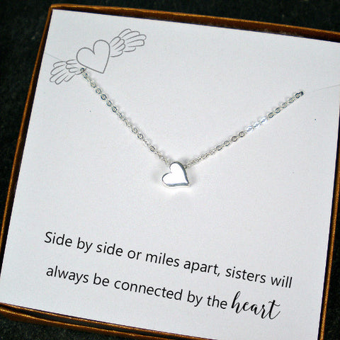 Sister Jewelry Gift, Trendy Minimal Heart Charm Necklace, Sterling Silver