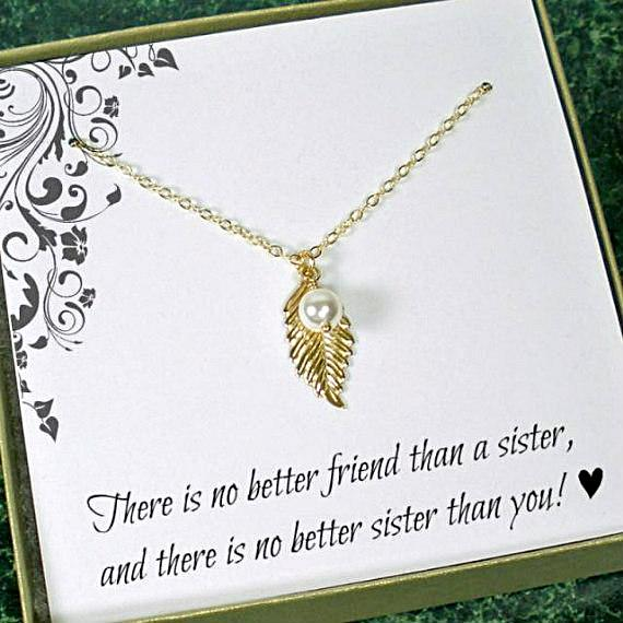 sister jewelry gift dainty leaf necklace