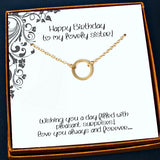 sister birthday gift circle necklace gold