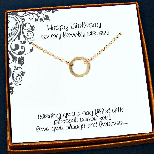 Unique Sister Birthday Gifts, Trendy Gold Circle Necklace, Message Card Jewelry