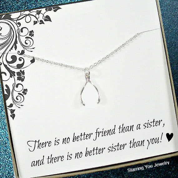 sister gift, silver lucky necklace, message card jewelry