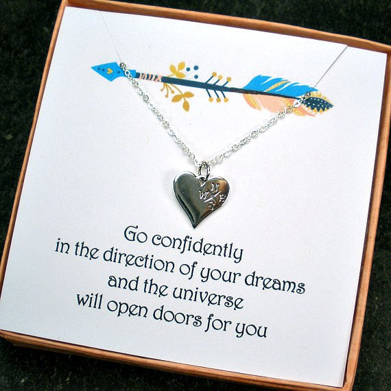 High School College Graduation Gifts Compass Necklace Message Card jewelry