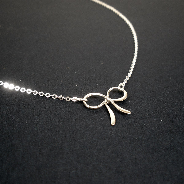 sterling silver bow necklace tie the knot ribbon