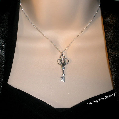 large skeleton key necklace sterling silver