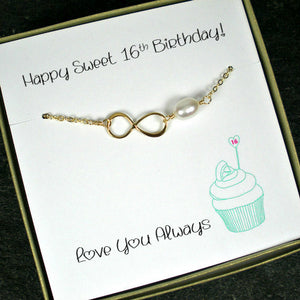 Sweet 16 Gift for Girl Gold Infinity Pearl Bracelet