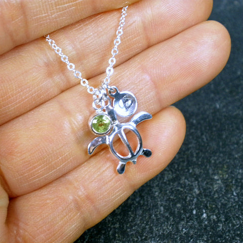 turtle initial necklace personalized jewelry sterling silver