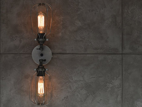 Raw Steel Twin Wall Light