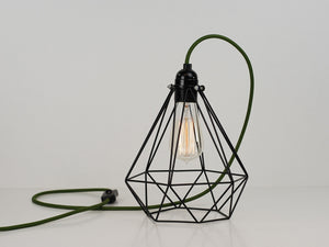Desk Lamp | Diamond Cage | Jet Black & Army Green - Vendimia Lighting Co.