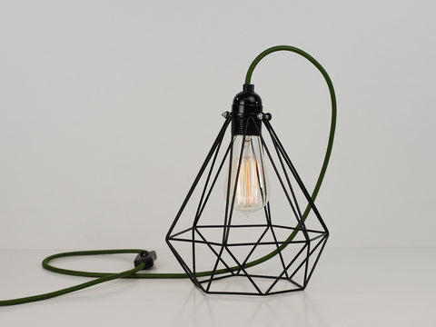 Desk Lamp | Diamond Cage | Jet Black - Vendimia Lighting Co.