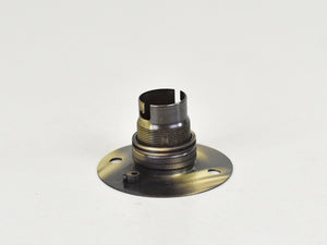 B22 Brass Bulb Holder | Batten Lamp Fitting | Threaded Brushed Antique - Vendimia Lighting Co.