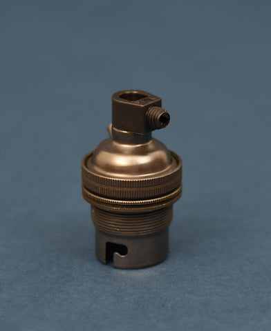 B22 Brass Bulb Holder | Threaded Skirt | Bronze - Vendimia Lighting Co.