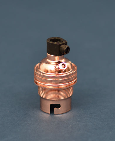 B22 Brass Bulb Holder | Threaded Skirt | Polished Copper - Vendimia Lighting Co.
