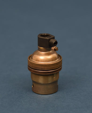 B22 Brass Bulb Holder | Threaded Skirt | Old English Brass - Vendimia Lighting Co.
