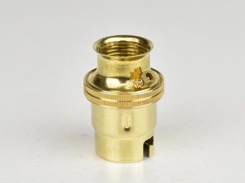 B22 Brass Bulb Holder | 20mm Conduit Fitting | Plain | Brass - Vendimia Lighting Co.