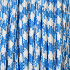 Fabric Cable | Round | Houndstooth Blue & White - Vendimia Lighting Co.