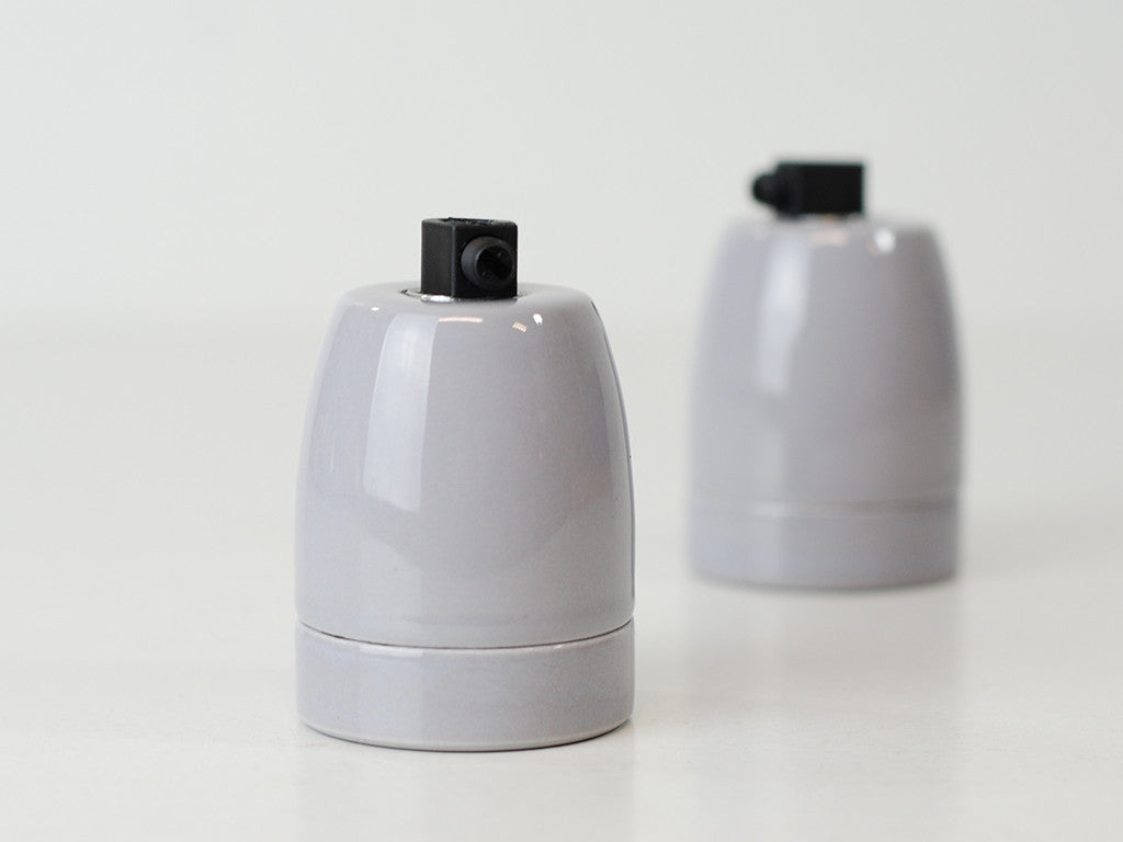 Porcelain Bulb Holder | Drizzle Grey - Vendimia Lighting Co.