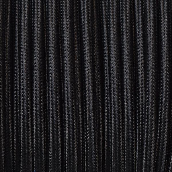 Fabric Cable | Round | Jet Black - Vendimia Lighting Co.
