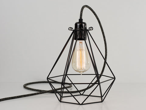 Desk Lamp | Premium Diamond Cage | Jet Black - Vendimia Lighting Co.