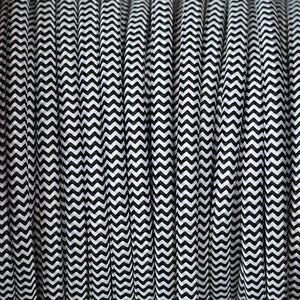 Fabric Cable | Round | Chevron Black & White - Vendimia Lighting Co.