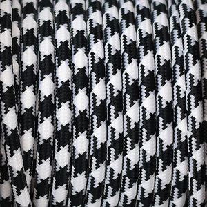 Fabric Cable | Round | Houndstooth Black & White - Vendimia Lighting Co.
