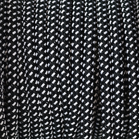 Fabric Cable | Round |  Fleck Black & White - Vendimia Lighting Co.