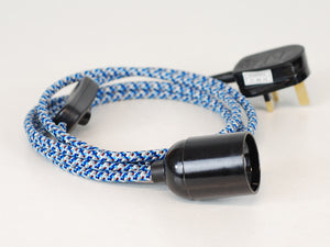 Plug-in Pendant | Round Fabric Cable | Blue Digital Camo - Vendimia Lighting Co.