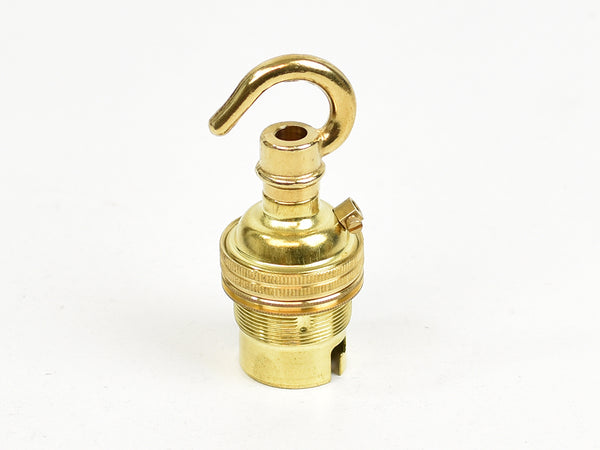 B22 Brass Bulb Holder | Threaded Skirt | Brass - Vendimia Lighting Co.