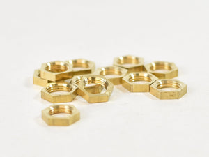 M10 solid brass hexagon locknuts half nuts | various quantites - Vendimia Lighting Co.