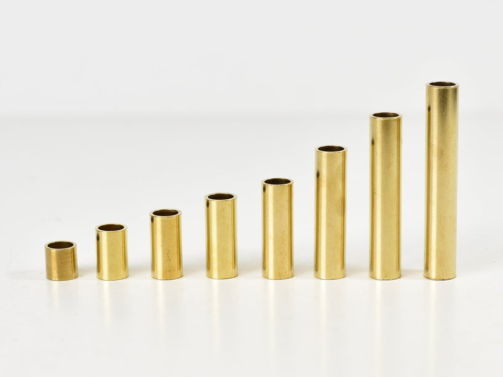 10mm Solid polished brass plain barrel tube spacers | Various Lengths - Vendimia Lighting Co.