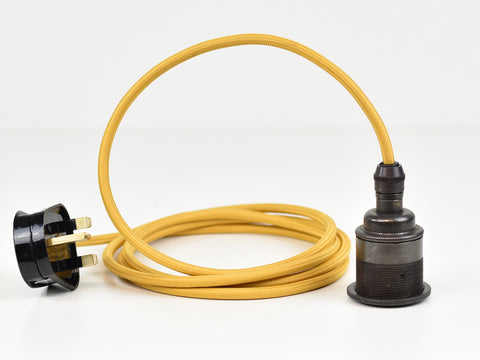 Plug-in Pendant | Premium Brass Lamp Holder | Dark Bronze & Mustard - Vendimia Lighting Co.
