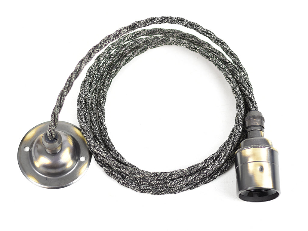 E27 Pendant Light Fitting Set | Brushed & Grey - Vendimia Lighting Co.