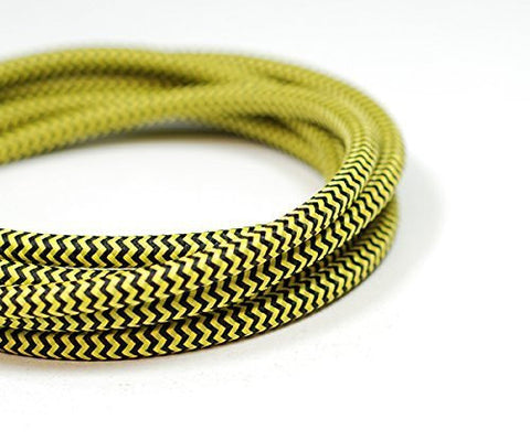 Round Fabric Cable | Black & Yellow Chevron