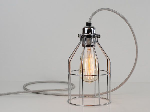 Desk Lamp | Premium Bird Cage | Polished Silver - Vendimia Lighting Co.