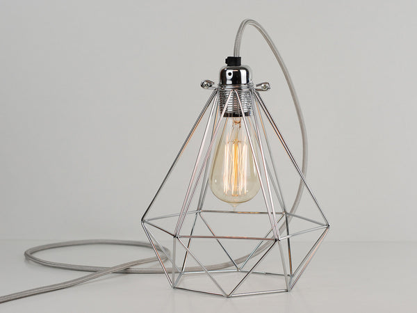 Desk Lamp | Premium Diamond Cage | Polished Silver - Vendimia Lighting Co.
