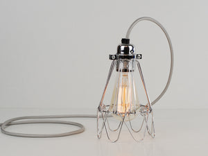 Desk Lamp | Premium Flower Cage | Polished Silver - Vendimia Lighting Co.
