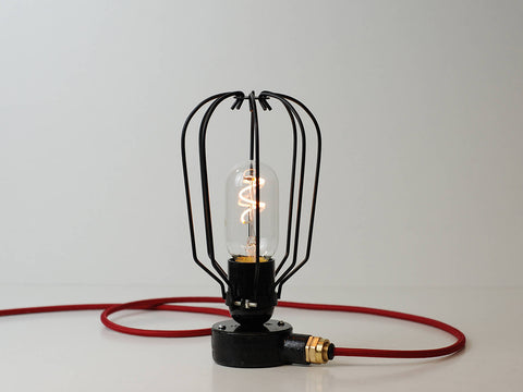 Desk Lamp | Conduit Box Drop Cage | Jet Black - Vendimia Lighting Co.