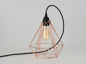 Desk Lamp | Diamond Cage | Polished Copper & Jet Black - Vendimia Lighting Co.