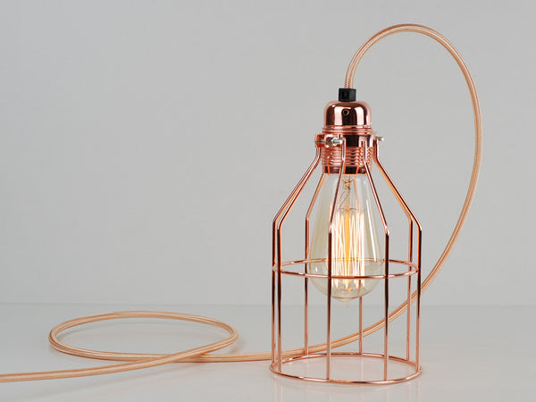 Desk Lamp | Premium Bird Cage | Polished Copper - Vendimia Lighting Co.