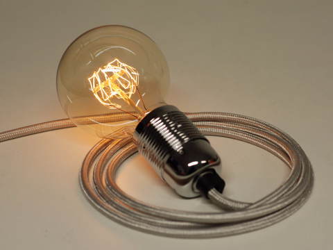 Metallic Silver Cable Plug In Pendant Lamp Set & 40w Globe Edison Bulb - Vendimia Lighting Co.